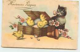 HEUREUSES PAQUES  CHAT ET POUSSINS - Easter