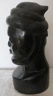 Art Africain Mali Buste En ébène D'un Berbère Fêlé Au Crâne Hauteur 33 Cm 4,9 Kg - Art Africain