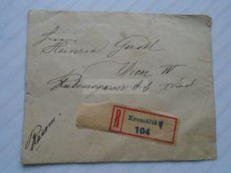 ZA267.26 Czechoslovakia - Registered Cover 1919   Cancel KROMERIZ 104 - Stamp Posta Cesko-Slovenska  50h - Briefe U. Dokumente