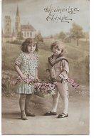 L170A455 - Bonne Année - Enfants Et Panier De Fleurs , Décor Nature ... - Zita  N°7018 - Anno Nuovo