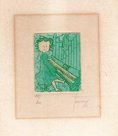 Fillette Au Piano. Lithographie N°102 Sur 200. Signature De L'artiste A Déchiffrer.Trés Beau Dessin. - Lithographies
