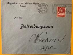 9939- Lettre Magazine Zum Wilden Mann Basel 15.03.1926 Pour Weesen - Lettres & Documents