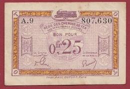 Belgique 1 Bon De 0.25cts Régie Des Chemins De Fer Des Territoires Occupés (1er Guerre 14/18) Dans L 'état - Sammlungen