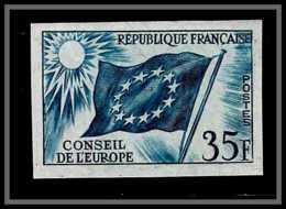 France Service N°20 Conseil De L'europe Europa Drapeau Flag Bleu Essai Color Proof Non Dentelé (imperforate) ** MNH - Probedrucke