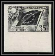 France Service N°20 Conseil De L'europe Europa Drapeau Flag Noir Essai Color Proof Non Dentelé (imperforate) ** MNH - Prove