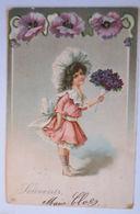 """""""Kinder, Blumen"""" 1903, Prägekarte♥  - Kinder"""