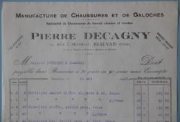 FACTURE 60 OISE BEAUVAIS MANUFACTURE DE CHAUSSURE DECAGNY ANNEE 1932 - Textile & Vestimentaire