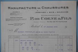 FACTURE BELGIQUE ISEGHEM 60 OISE BRETEUIL 03 ALLIER MONTLUCON MANUFACTURE DE CHAUSSURES DE COENE - Textile & Vestimentaire