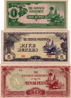 BURMA-BIRMANIA 1,5,10 RUPEES 1942  P-14,15,16 UNC - Banconote