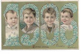 L170A468 - Bonne Année -Quatre Visages D' Enfant Dans Les Chiffres De 1906. - Carte Gauffrée Et Précurseur - Nouvel An
