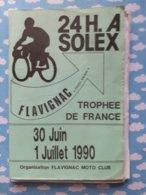 Programme 24 Heures De Solex De Flavignac 30 Juin 1er Juillet 1990 - Programs