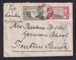 1 Und 2 P. Auf Brief Nach CHINA - Rhodésie Du Sud (...-1964)