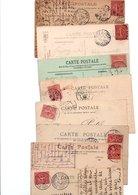 TIMBRE TYPE SEMEUSE LIGNEE...10c.ROSE.......VOIR DETAIL...LOT DE 150 SUR CPA.....VOIR SCAN......LOT 1 - 1903-60 Semeuse Lignée