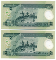 SOLOMON ISLANDS// CENTRAL BANK // 2 X 2 Dollars // POLYMER // UNC - Salomons