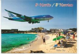 KLM Landing At Juliana Airport, Above The Maho Bay Beach ! ,  Carte écrite Au Verso. ST MARTIN. ANTILLES - 1946-....: Modern Era
