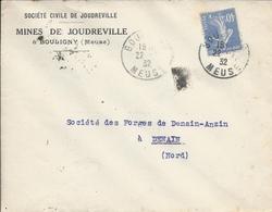 LSC Avec Cachet Du 22/7/1932 De Bouligny (Meuse) Pour Denain (Nord) Avec Semeuse - Marcophilie (Lettres)