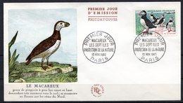FDC FRANCE 1960 - N° 1274 - 30 C. Multicolore - Oiseaux - Macareux-Moines - 1960-1969