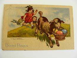 BUONA PASQUA  JOYEUES  PAQUES Signed Castelli POSTCARD  USED  CIRCULE'  CONDITION PHOTO FORMATO PICCOLO - Easter