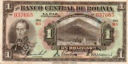 BOLIVIA 1 BOLIVIANO 1928 P-118   SERIE M5 - Bolivia