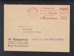 Dt. Reich Brief Bad Dürkheim  Freistempel Olympia Dorf 1941 - Allemagne