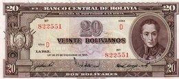 BOLIVIA 20 BOLIVIANOS 1945 P-140  AUNC - Bolivia