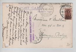 122PR/ TP Suid Afrika CP Muizemberg C.Capetown 30/9/42 > Congo Belge Censures Postes Militaire Congo Belge 12/X/42 - Congo Belge