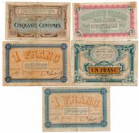 1914-1918 // C.D.C. // BESANCON // 5 Billets // 2 X 50 Centimes & 3 X 1 Franc - Chambre De Commerce