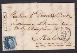 N° 11 A Touché / Lettre  GRIFFE BRUGES Ambulant OUEST N° 1 O. I   Du 12 Nov 1859 Vers Malines Lac - 1858-1862 Medallones (9/12)