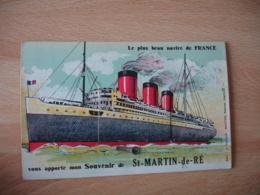 Carte A Systeme Paquebot France Le Plus Beau Navire France Souvenir Saint Martin De Re - France