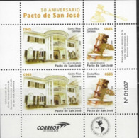 COSTA RICA, 2019, MNH, 50th ANNIVERSARY OF SAN JOSE PACT, HUMAN RIGHTS, SHEETLET OF 2 SETS - Storia