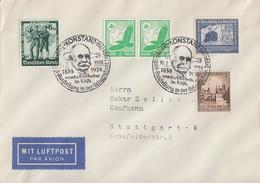 DR Brief Luftpost Mif Minr.2x 529,662,665,669 SST Konstanz 10.7.38 Zeppelinpost-Ausstellung - Briefe U. Dokumente