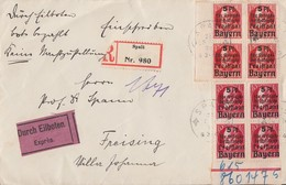 Bayern R-Eilbote-Brief Mif Minr.4x 171A UR, 4x 172A SR Spalt - Bayern