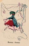 CPA Peinte à La Main Women Girl Femme Assise Un Cochon Porc Pig Manège Carrousel Bonne Année Illustrateur (2 Scans) - Cerdos