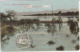 Deutsch Südwest Afrika DSWA Steindamm Farm Hoffnung Askari Karabiner Im Boot Auf Dem Kriegspfad 21.7.1913 Marke Vorn - Ehemalige Dt. Kolonien
