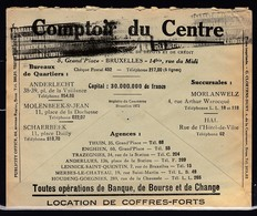 Brief Van Comptoir Du Centre Naar Ciney - Briefe U. Dokumente