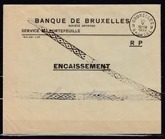 Brief Van Banque De Bruxelles Service Du Portefeuille Met Annulatiestempel Naar Chastre-Villeroux - Lettres & Documents