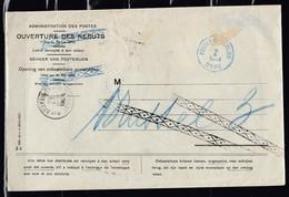 Brief Van Administration Des Postes Ouverture Des Rebuts Naar Postes Posterijen DTPE Met Annulatie Stempel - Belgique