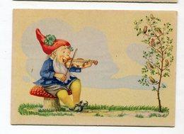 Zwerg Gnome Lutin Tomtar Dwarf  Vintage Postcard  Postkarte Fairy Tale Carte Postale Violin Music Violinist - Contes, Fables & Légendes