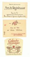 Lot De 3 étiquettes - Alcool - Calvados, Marc De Gewürztraminer Et Poire William -(b274) - Etiquetas