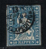 Suisse // Schweiz // Switzerland //  Helvétie Assise //  Helvétia Non Dentelé ( Rappen)  Oblitérée No.23G - Oblitérés