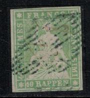 Suisse // Schweiz // Switzerland //  Helvétie Assise //  Helvétia Non Dentelé ( Rappen)  Oblitérée No.26A - 1854-1862 Helvetia (Non Dentellati)