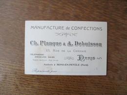 PARIS CH. PLANQUE & A. DEBUISSON MANUFACTURE DE CONFECTIONS 15 RUE DE LA CERISAIE ATELIERS A MONS EN PEVELE NORD - Other