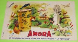 BUVARD - FABLE DE LA FONTAINE - Pub Pour Les Verres Décorés - 20 X 12 - PUB Moutarde AMORA  - Très Bon état  / 227 - Alimentare
