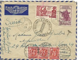 104 - 23 - Enveloppe Envoyée D'Indochine En Suisse 1939 - 3 Timbres Taxes Suisses - Postage Due