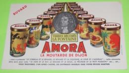 BUVARD - FABLE DE LA FONTAINE - Pub Pour Les Verres Décorés - 20 X 12 - PUB Moutarde AMORA  - Très Bon état  / 228 - Alimentare