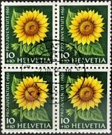 1961 Pro Juventute Sonnenblume Viererblock MiNr: 743 - Pro Juventute