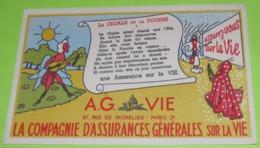 BUVARD - FABLE DE LA FONTAINE - La Cigale Et La Fourmi - 21 X 13.5 - PUB Assurance G. Sur La Vie - Très Bon état  / 229 - Alimentare