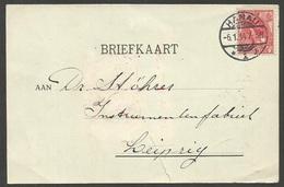 HANAU Auf Karte Mit Holländische Marke 5 Cent Rot Wilhelmina Aus 1914, Nach Leipzig, Unbeanstandet Befördert - Alemania