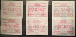 BELGIUM : 6 VIGNETTEN   Standard  BFR 11 - 13 -15 -16 -28 - 30   MNH - Postage Labels