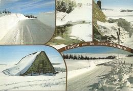 48. CPM. Lozère. Aubrac. L'hiver Sur Les Monts D'Aubrac, Vaste Plateau Montagneux, Les Pistes De Ski De Fond (5 Vues) - Aumont Aubrac